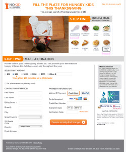 No Kid Hungry Interactive Thanksgiving Donation Page